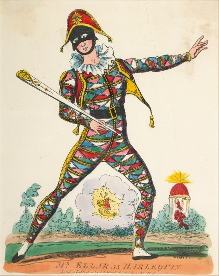 Theatrical portrait of harlequin